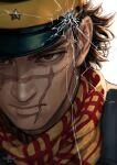 1boy black_headwear brown_eyes closed_mouth golden_kamuy hat looking_at_viewer male_focus military_hat mitsuya plaid plaid_scarf portrait scar scar_on_cheek scar_on_face scarf solo sugimoto_saichi yellow_scarf