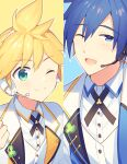 2boys aqua_eyes blonde_hair blue_eyes blue_hair clover column_lineup commentary formal headphones headset jacket kagamine_len kaito_(vocaloid) looking_at_viewer male_focus multiple_boys one_eye_closed open_mouth shirt sinaooo smile spiky_hair suit symbol-only_commentary upper_body vest vocaloid white_jacket white_shirt white_suit white_vest