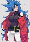 ! !! 1girl belt blue_eyes blue_hair breasts commentary_request cowboy_shot eyebrows_visible_through_hair eyes_visible_through_hair galo_thymos genderswap genderswap_(mtf) grey_background highres large_breasts long_hair looking_at_viewer pants parted_lips pouch promare simple_background solo spiky_hair standing takatsuki_ichi teeth translation_request very_long_hair