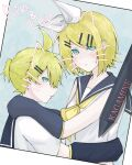 1boy 1girl aqua_eyes arm_warmers arms_around_neck arms_around_waist bangs black_collar black_sleeves blonde_hair character_name collar collared_shirt commentary drawn_ears drawn_whiskers expressionless hair_ornament hairclip highres kagamine_len kagamine_rin looking_at_viewer looking_to_the_side neckerchief photo_(object) sailor_collar school_uniform shirt short_hair short_ponytail short_sleeves sleeveless sleeveless_shirt spiky_hair stylus swept_bangs vocaloid white_shirt yellow_neckwear yuzukun_17