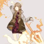 1girl animal_ears bangs blonde_hair fake_animal_ears fake_tail flaming_weapon grey_background hair_between_eyes hair_ribbon highres holding holding_polearm holding_spear holding_weapon jacket kageaki_(keikuroe) letterman_jacket little_red_riding_hood_(sinoalice) long_hair long_sleeves looking_at_viewer open_mouth polearm reality_arc_(sinoalice) red_jacket ribbon simple_background sinoalice solo spear tail teeth weapon yellow_eyes