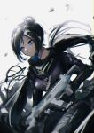 1girl absurdres apex_legends assault_rifle bangs belt black_bodysuit black_scarf blue_eyes bodysuit breasts brown_belt floating_scarf gun hair_behind_ear hair_bun highres holding holding_gun holding_weapon looking_to_the_side medium_breasts r-301_carbine rifle scarf solo tada_no_koukousei weapon wraith_(apex_legends)