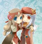2girls animal_around_neck aura_(a440) bangs blue_eyes blush book breasts brown_hair closed_mouth cowboy_shot detached_sleeves dress eyes_visible_through_hair fox grey_hair hanbok hat holding holding_book korean_clothes long_hair low-tied_long_hair multiple_girls open_mouth pelvic_curtain professor_(ragnarok_online) ragnarok_online red_dress red_eyes red_headwear red_sleeves sleeveless sleeveless_dress small_breasts smile soul_linker_(ragnarok_online) striped_sleeves translation_request white_sleeves wide_sleeves