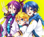 3boys armor black_collar blonde_hair blue_bodysuit blue_eyes blue_hair blue_scarf bodysuit closed_fan coat collar collared_shirt commentary fan_to_mouth folding_fan group_hug hair_ornament hair_stick hand_fan headphones highres holding holding_fan holding_hands hug hug_from_behind japanese_clothes kagamine_rin kaho_0102 kaito_(vocaloid) kamui_gakupo long_hair looking_at_viewer male_focus multiple_boys one_eye_closed open_mouth ponytail purple_hair sailor_collar scarf school_uniform shirt short_sleeves shoulder_armor smile sweat upper_body v v-shaped_eyebrows violet_eyes vocaloid white_coat white_robe white_shirt yellow_background
