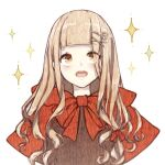 1girl :o bangs blonde_hair hair_between_eyes hair_ornament hairpin highres little_red_riding_hood_(sinoalice) long_hair looking_up open_mouth portrait red_hood rico_tta simple_background sinoalice solo star_(symbol) teeth white_background yellow_eyes
