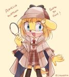 1girl :d animal_ears animal_nose arm_up artist_name black_legwear blonde_hair blue_eyes brown_coat brown_skirt capelet character_name coat collared_shirt deerstalker dog_ears dog_girl dog_tail english_commentary english_text eyebrows_visible_through_hair furrification furry furry_female hair_ornament hat highres holding_magnifying_glass hololive hololive_english long_sleeves lunaerim monocle_hair_ornament necktie open_mouth plaid plaid_skirt pleated_skirt red_neckwear shirt shirt_tucked_in short_hair sideways_glance simple_background skirt smile solo sonic_(series) tail thigh-highs twitter_username virtual_youtuber watson_amelia white_shirt yellow_background yellow_fur