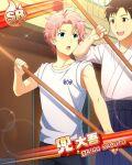 blue_eyes character_name idolmaster idolmaster_side-m kabuto_daigo pink_hair shirt short_hair