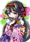 1girl abstract_background akemi_homura alternate_costume arrow_(projectile) back_bow bangs black_gloves black_hair black_kimono bow commentary_request cow eyebrows_visible_through_hair floral_background floral_print flower frilled_sleeves frills fur-trimmed_kimono fur_trim furisode gloves hair_between_eyes hair_bow hair_flower hair_ornament hairband highres holding holding_arrow japanese_clothes jitome kimono long_hair long_sleeves mahou_shoujo_madoka_magica pink_kimono red_bow smile solo spider_lily tag teruna_(artist) two-tone_kimono violet_eyes white_background