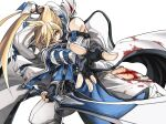 1boy belt blonde_hair blood blood_on_clothes blood_on_face blue_eyes dong_hole english_text fighting_stance fingerless_gloves gloves guilty_gear guilty_gear_xrd heterochromia highres holding holding_weapon ky_kiske long_hair male_focus ponytail red_eyes simple_background sword tied_hair torn_clothes weapon white_background