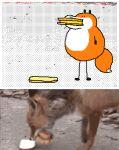 animal_focus animated animated_gif burger commentary english_commentary flipnote_studio_(medium) food fox keke_(kokorokeke) lowres mouth_hold no_humans original reference_photo_inset smile wide-eyed