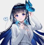 1girl aoi_nabi bangs belt blue_eyes blue_hair blue_ribbon blunt_bangs blush bow bow_earrings breasts butterfly_hair_ornament cleavage_cutout clothing_cutout coat colored_inner_hair earrings eyelashes floating_hair grey_background grey_sweater hair_ornament hairclip highres holding holding_pencil indie_virtual_youtuber jewelry korean_commentary light_blue_hair long_hair long_sleeves looking_at_viewer medium_breasts multicolored_hair necklace parted_lips pencil ribbed_sweater ribbon simple_background smile solo straight_hair sweater takubon turtleneck turtleneck_sweater two-tone_hair upper_body virtual_youtuber white_belt white_coat