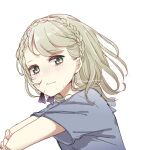 1girl bangs blonde_hair braid briar_rose_(sinoalice) closed_mouth crying crying_with_eyes_open hair_between_eyes hair_ribbon highres hospital_gown looking_at_viewer portrait ribbon rico_tta short_hair short_sleeves simple_background sinoalice solo tearing_up tears white_background yellow_eyes
