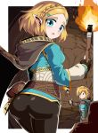 1boy 1girl ass blonde_hair blue_eyes breasts fingerless_gloves gloves hair_ornament hairclip highres link looking_at_viewer open_mouth pointy_ears princess_zelda shimure_(460) short_hair the_legend_of_zelda the_legend_of_zelda:_breath_of_the_wild thick_eyebrows