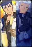 2boys akujiki59 alternate_costume archer_(fate) black_gloves black_shirt blue_hair collared_coat cu_chulainn_(fate) cu_chulainn_(fate/stay_night) cup dark-skinned_male dark_skin earrings fate/stay_night fate_(series) formal frown gloves grey_suit holding holding_cup jewelry looking_at_viewer male_focus multiple_boys necklace necktie official_style one_eye_closed partially_unbuttoned ponytail red_eyes shirt short_hair smile spiky_hair suit white_hair white_suit winter_clothes