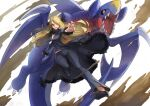 action black_pants blonde_hair breasts cynthia_(pokemon) floating_hair full_body fur-trimmed_jacket fur-trimmed_sleeves fur_collar fur_trim garchomp gen_4_pokemon grey_eyes hair_ornament hair_over_one_eye high_heels highres jacket long_hair looking_at_viewer open_mouth outstretched_arm pants pokemon pokemon_(creature) pokemon_(game) pokemon_dppt takeclaire