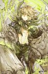 1boy ahoge blonde_hair closed_mouth corruption cravat eyebrows_visible_through_hair gauntlets glowing green_eyes looking_at_viewer male_focus navel pinocchio_(sinoalice) short_hair shorts sino_nb3 sinoalice smile solo suspenders