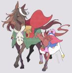 2girls adapted_costume aiguillette animalization ascot bow brown_hair cape capelet earrings epaulettes grey_background highres horse jewelry medal multicolored_hair multiple_girls red_cape red_capelet single_earring single_epaulette streaked_hair symboli_rudolf_(umamusume) tail tail_bow tail_ornament takatsuki_nato tokai_teio_(umamusume) tongue tongue_out two-tone_hair umamusume white_hair younger