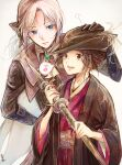 2girls ascot bangs black_hair blonde_hair bloodborne blue_eyes blush brown_hair closed_mouth cravat crossover emma_the_gentle_blade gem gloves hair_bun hat hat_feather japanese_clothes kimono lady_maria_of_the_astral_clocktower long_hair long_sleeves looking_at_viewer multiple_girls ponytail sekiro:_shadows_die_twice shinshumen short_hair smile the_old_hunters tricorne updo white_hair