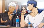 1girl 2boys akujiki59 alternate_costume anger_vein archer_(fate) black_shirt blue_hair bottle casual cu_chulainn_(fate) cu_chulainn_(fate/stay_night) dark-skinned_male dark_skin fate/stay_night fate_(series) male_cleavage male_focus microphone multiple_boys official_style partially_unbuttoned pectorals pen ponytail red_eyes shirt short_hair spiky_hair tohsaka_rin toned toned_male upper_body white_hair white_shirt