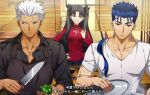 1girl 2boys akujiki59 apron archer_(fate) black_apron blue_hair casual cooking cu_chulainn_(fate) cu_chulainn_(fate/stay_night) dark-skinned_male dark_skin fate/stay_night fate_(series) green_pepper holding holding_knife knife male_cleavage multiple_boys official_style pectorals ponytail red_eyes shirt short_hair spiky_hair subtitled sweatdrop tohsaka_rin toned toned_male translation_request twintails v-neck white_hair white_shirt