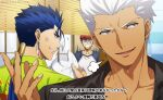 3boys akujiki59 anger_vein archer_(fate) blue_hair broken cu_chulainn_(fate) cu_chulainn_(fate/stay_night) dark-skinned_male dark_skin emiya_shirou fate/stay_night fate_(series) hawaiian_shirt looking_at_another male_focus multiple_boys official_alternate_costume official_style plate ponytail red_eyes shirt short_hair spiky_hair subtitled toned toned_male translation_request upper_body white_hair
