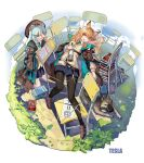 2girls alcohol animal_ears aqua_hair arknights artist_name bear_ears black_legwear black_skirt book bottle braid brown_cape brown_eyes brown_footwear brown_hair cape ceobe_(arknights) commentary_request dog dog_ears eyebrows_visible_through_hair full_body hair_ornament highres holding holding_bottle istina_(arknights) loafers long_hair looking_at_another lying multiple_girls necktie on_back one_eye_closed pantyhose parted_lips pleated_skirt qihai_lunpo shoes single_braid skirt star_(symbol) star_hair_ornament white_background