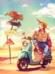 1girl akagi_shun bird blush boater_hat bracelet braid brown_eyes brown_hair clouds collarbone commentary desert english_text full_body ground_vehicle hat hawk holding holding_map jewelry map motor_vehicle motorized_scooter open_mouth original outdoors overalls pants pants_rolled_up sand sandals shirt sign sitting sky smile solo straw_hat teeth tongue white_shirt