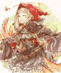 1girl ^_^ bangs belt blonde_hair blunt_bangs claws closed_eyes collared_shirt corset dress excited eyebrows_visible_through_hair hair_ribbon hood hood_up little_red_riding_hood_(sinoalice) long_hair long_sleeves open_mouth petticoat ribbon shirt sidelocks simple_background sino_nb3 sinoalice sketch solo