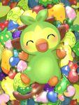 :d berry_(pokemon) blush closed_eyes commentary_request facing_viewer full_body gen_8_pokemon grookey highres no_humans open_mouth pokemon pokemon_(creature) saki_pokeoekaki smile solo stick toes