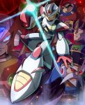 5boys absurdres agile_(mega_man) android arm_cannon armor beard black_headwear blonde_hair blue_eyes clenched_teeth closed_mouth commentary_request facial_hair fangs full_body gloves glowing green_eyes grey_hair grin hand_up hat helmet highres hoshi_mikan looking_at_viewer male_focus mega_man_(series) mega_man_x2 mega_man_x_(character) mega_man_x_(series) multiple_boys mustache old old_man red_eyes red_gloves red_headwear robot_ears serges_(mega_man) serious shoulder_armor smile spikes teeth violen_(mega_man) weapon white_headwear zero_(mega_man)