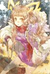1girl animal_ears bangs blonde_hair blunt_bangs eyebrows_visible_through_hair hair_ribbon jacket little_red_riding_hood_(sinoalice) long_hair looking_at_viewer low_twintails open_mouth orange_eyes reality_arc_(sinoalice) ribbon scarf sidelocks sino_nb3 sinoalice snow solo tail twintails wavy_hair winter
