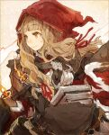 1girl bangs blonde_hair blunt_bangs book buckle closed_mouth collared_shirt dress eyebrows_visible_through_hair hair_ribbon holding holding_book hood hood_up little_red_riding_hood_(sinoalice) long_hair looking_to_the_side ribbon shirt sidelocks sino_nb3 sinoalice smile solo wavy_hair
