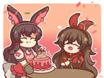 2girls amber_(genshin_impact) animal_ears april_(arknights) apron arknights bangs birthday_cake border brown_gloves brown_hair cake closed_eyes confetti crossed_bangs english_text eyebrows_visible_through_hair food genshin_impact gloves hair_between_eyes hair_ribbon hands_together highres long_hair mii_(sedaprasa) multiple_girls open_mouth oven_mitts pink_apron rabbit_ears red_ribbon ribbon tongue tongue_out white_border wooden_table