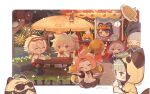 2boys 6+girls :3 alternate_costume animal animal_ears animal_hood apron bangs bangs_pinned_back bench bennett_(genshin_impact) blonde_hair blue_hair blunt_bangs bowl burger cat cat_ears cat_girl cat_tail chef_hat closed_eyes coconut coconut_tree cup daruma_doll dated diona_(genshin_impact) drinking_straw eating festival fireworks food genshin_impact grey_hair guoba_(genshin_impact) hair_between_eyes hair_ornament hair_rings hairclip hand_fan hat highres holding holding_fan hood hood_down hood_up ice_cream ice_cream_cone jacket kamisato_ayaka klee_(genshin_impact) leaf leaf_on_head long_hair low_twintails multiple_boys multiple_girls musical_note ofuda open_mouth outdoors palm_tree pancake pink_hair pointy_ears ponytail purple_hair qiqi_(genshin_impact) red_eyes sayu_(genshin_impact) seashell see-through shell short_sleeves shuangfeng sidelocks silver_hair sitting skewer slime_(genshin_impact) stall sunglasses table tail tray tree tree_stump twintails visor_cap white_apron xiangling_(genshin_impact)