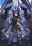 1girl absurdres apple_field bangs black_dress black_hair breasts brown_eyes clouds cloudy_sky cockpit commentary_request commission dress eyepatch facial_mark girls_frontline hair_between_eyes headgear highres long_hair looking_at_viewer mecha mechanical_arms mechanical_legs nyto_adeline_(girls_frontline) paradeus sitting skeb_commission sky small_breasts solo