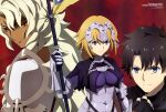 1girl 2boys absurdres aqua_inc. black_hair black_sclera blonde_hair clenched_hand colored_sclera copyright_name fate/grand_order fate_(series) fingerless_gloves fujimaru_ritsuka_(male) furrowed_brow gloves highres jeanne_d'arc looking_at_viewer magazine_scan multiple_boys newtype official_art red_background red_eyes scan solomon_(fate) white_hair