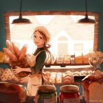 1girl akagi_shun apron baguette bangs basket beret bread brown_eyes brown_hair croissant egg food from_side green_shirt hair_pulled_back hat high_collar holding holding_basket indoors jam jar long_hair muffin open_mouth original parted_bangs shirt shop sleeves_rolled_up smile solo tart_(food) teeth toast tongue upper_body white_apron white_headwear window