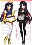 2girls absurdres belt black_eyes black_gloves black_hair fate/grand_order fate_(series) gloves hair_ribbon highres ishtar_(fate)_(all) jewelry looking_at_viewer maid_headdress multiple_girls red_eyes ribbon space_ishtar_(fate) twintails yd_(orange_maru)