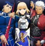 1girl 2boys ahoge akujiki59 archer_(fate) armor artoria_pendragon_(fate) blue_bodysuit blue_hair bodysuit bow_(weapon) breastplate covered_abs cu_chulainn_(fate) cu_chulainn_(fate/stay_night) dark-skinned_male dark_skin drawing_bow excalibur_(fate/stay_night) fate/stay_night fate_(series) gae_bolg_(fate) green_eyes holding holding_bow_(weapon) holding_lance holding_polearm holding_sword holding_weapon lance multiple_boys official_style pectorals polearm ponytail red_eyes saber short_hair shrug_(clothing) smile spiky_hair sword upper_body weapon white_hair