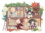 1girl 3boys :3 aether_(genshin_impact) ahoge alcohol antenna_hair apron aqua_hair arm_tattoo asymmetrical_clothes bandaged_hands bandages bangs bead_necklace beads beer_mug beret bespectacled black_hair blonde_hair blue_apron blue_eyes blue_hair book bookshelf bottle bow braid calligraphy_brush cape cat chibi closed_mouth cup dandelion detached_sleeves easel facial_hair facial_mark flower forehead_mark genshin_impact glasses gloves gradient_hair green_headwear hair_between_eyes hair_bow hat hat_flower highres holding holding_book house japanese_clothes jean_(genshin_impact) jewelry kaedehara_kazuha lantern leaf leaf_print light_bulb long_hair long_sleeves mug multicolored_hair multiple_boys necklace open_mouth paimon_(genshin_impact) paintbrush painting palette_(object) pants paper ponytail quill red_eyes red_flower redhead shuangfeng side_braids sitting smile sparkle stairs standing stool streaked_hair table tassel tattoo venti_(genshin_impact) white_flower white_hair white_pants xiao_(genshin_impact) yellow_eyes