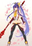 1girl antenna_hair backless_outfit black_pants blazblue blazblue_alternative:_dark_war blue_hair bow breasts clenched_hand halter_top halterneck highres holding holding_weapon large_breasts long_hair lowleg lowleg_pants mai_natsume official_art outseal pants polearm revealing_clothes smile spear sumeshi_(ambivalince) very_long_hair violet_eyes weapon white_background yellow_bow