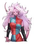 1girl android_21 black_nails checkered checkered_dress closed_mouth colored_skin dragon_ball dragon_ball_fighterz dress earrings fingernails hoop_earrings jewelry kemachiku long_hair looking_at_viewer majin_android_21 nail_polish pink_hair pink_skin pointy_ears red_eyes simple_background smile solo tail white_background