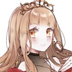 1girl bangs bare_shoulders blonde_hair close-up closed_mouth crown dress earrings hair_between_eyes highres jewelry little_red_riding_hood_(sinoalice) long_hair looking_at_viewer portrait red_dress rico_tta simple_background sinoalice smile solo v-shaped_eyebrows white_background yellow_eyes
