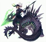 1boy armlet centauroid claws commentary_request dragon_boy dragon_horns dragon_tail ear_notch full_body highres horns long_pointy_ears looking_at_viewer male_focus monster_boy original pointy_ears polearm scales signature solo spear spines tail taur tongue tongue_out weapon white_background white_hair yellow_eyes yuzu_shio