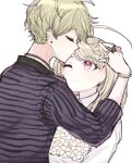 1boy 1girl ahoge akamatsu_kaede amami_rantarou bangs blonde_hair bouquet bracelet closed_eyes closed_mouth commentary_request couple danganronpa_(series) danganronpa_v3:_killing_harmony earrings eyebrows_visible_through_hair fc_(efushii) flower forehead_kiss from_side hair_ornament hand_up height_difference hetero holding holding_flower jewelry kiss long_hair long_sleeves looking_at_another messy_hair musical_note_hair_ornament necklace one_eye_closed pink_eyes ring shirt short_hair simple_background smile striped thumb_ring upper_body white_background white_flower white_shirt
