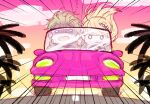 1boy 1girl akamatsu_kaede amami_rantarou bangs blonde_hair car chibi commentary_request dangan_ronpa_(series) dangan_ronpa_v3:_killing_harmony driving emphasis_lines fc_(efushii) floating_hair ground_vehicle hair_ornament long_hair motor_vehicle musical_note_hair_ornament open_mouth orange_sky outdoors palm_tree pink_background pink_sky shaded_face short_hair sketch sky speed_lines sweat tree