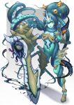 1girl :o aqua_skin bracer cephalopod_eyes commentary_request extra_eyes full_body highres looking_at_viewer monster_girl octopus open_mouth original phonixlight scylla shiny shiny_skin solo suction_cups sword tentacles upper_teeth weapon yellow_eyes