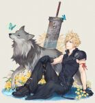 1boy animal arm_ribbon arm_support armor bad_id bad_pixiv_id belt black_gloves black_pants black_shirt blonde_hair blue_butterfly blue_eyes bug buster_sword butterfly cloud_strife dated earrings final_fantasy final_fantasy_vii final_fantasy_vii_advent_children flower from_side full_body gloves goggles goggles_removed hand_on_own_knee highres insect jewelry knee_up looking_ahead male_focus multiple_belts ohse pants parted_lips planted planted_sword red_ribbon ribbon shirt shoulder_armor signature sitting smile spiky_hair stud_earrings sword weapon white_flower wolf yellow_flower