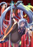 1girl absurdly_long_hair animal_ears arm_strap ass azur_lane bare_shoulders black_footwear black_legwear blue_eyes blue_hair blurry blurry_background bodystocking breasts detached_collar eyebrows_visible_through_hair fake_animal_ears high_heels highres kagura_hiromu large_breasts leotard long_hair looking_at_viewer new_jersey_(azur_lane) new_jersey_(exhilarating_steps!)_(azur_lane) official_alternate_costume oversized_breast_cup playboy_bunny pole pole_dancing purple_leotard rabbit_ears solo stage_lights stiletto_heels strapless strapless_leotard stripper_pole very_long_hair wrist_cuffs