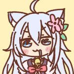 1girl :3 ahoge animal_ears bell blue_eyes blush_stickers cheat_kushushi_no_slow_life chibi drooling flower hair_flower hair_ornament long_hair neck_bell noela_(cheat_kushushi_no_slow_life) silver_hair simple_background solo tosaka112 upper_body wolf_ears wolf_girl yellow_background